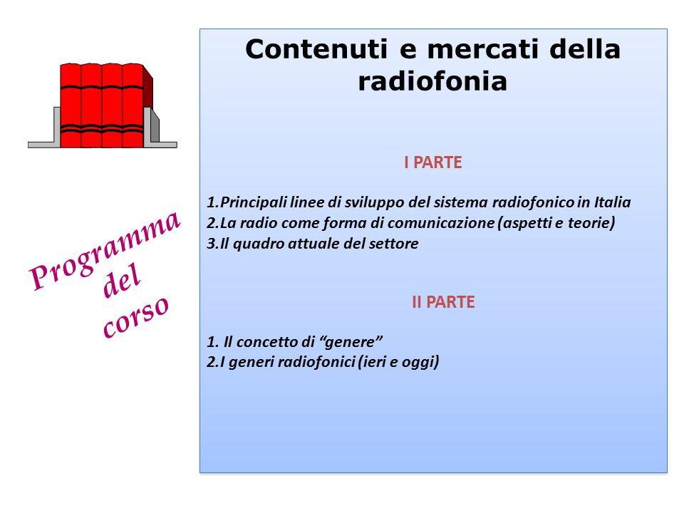 Programma del corso Contenuti e mercati della radiofonia I PARTE 1.Principali linee di sviluppo del sistema radiofonico in Italia 2.La radio come form