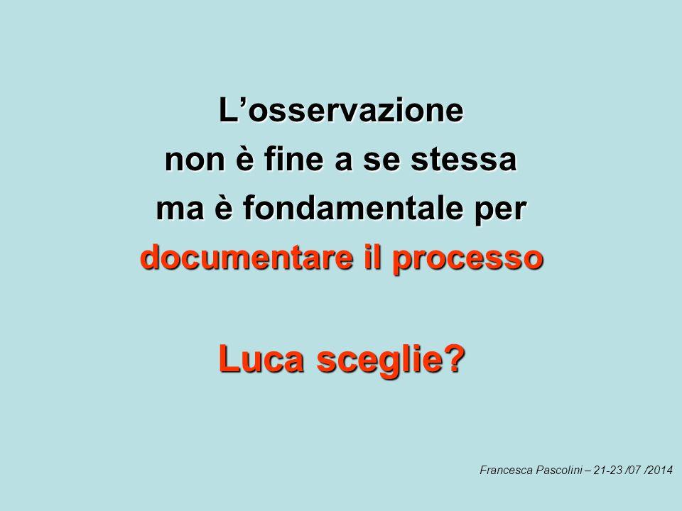 L'osservazione non è fine a se stessa ma è fondamentale per documentare il processo Luca sceglie? Francesca Pascolini – 21-23 /07 /2014