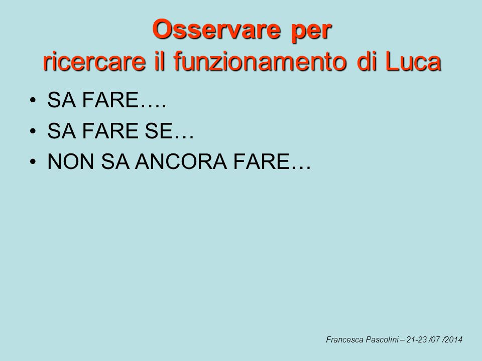 Osservare per ricercare il funzionamento di Luca Francesca Pascolini – 21-23 /07 /2014 SA FARE…. SA FARE SE… NON SA ANCORA FARE…
