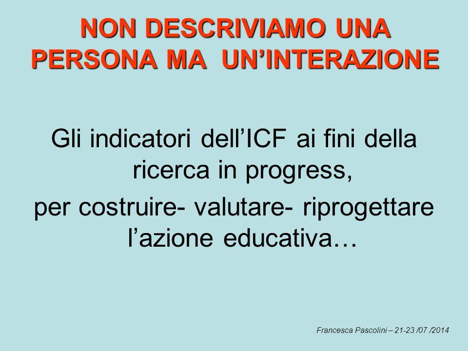 NON DESCRIVIAMO UNA PERSONA MA UN'INTERAZIONE Gli indicatori dell'ICF ai fini della ricerca in progress, per costruire- valutare- riprogettare l'azion