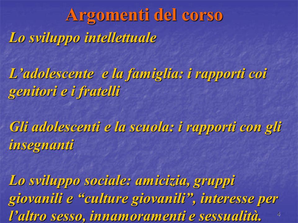 3 Argomenti del corso Introduzione all'adolescenza I compiti di sviluppo; i cambiamenti di interessi; l'adolescenza: un età difficile.