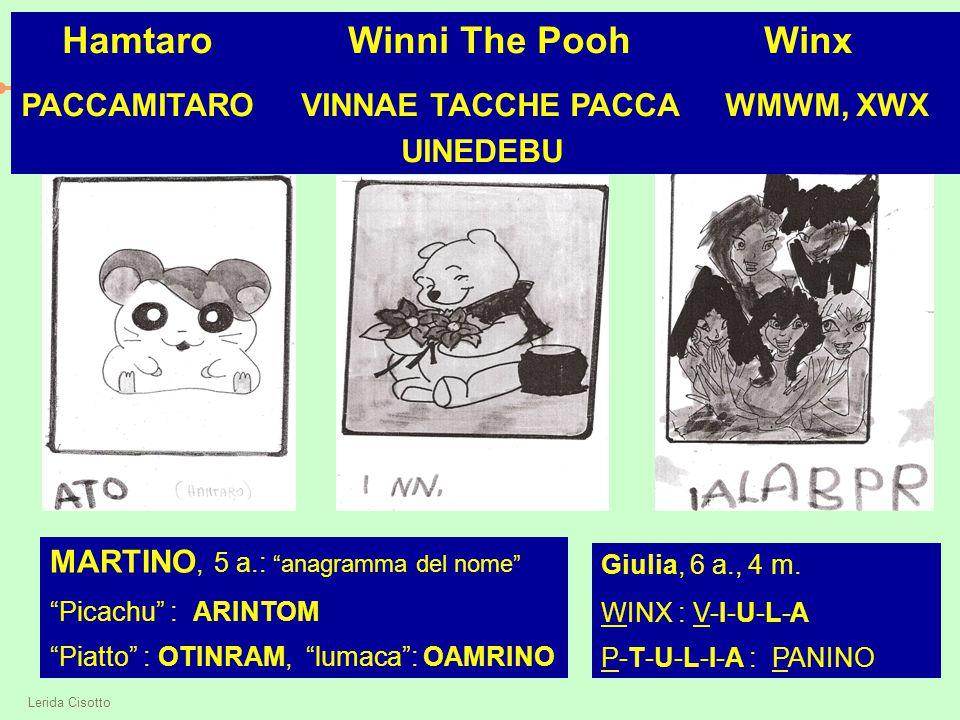 """Lerida Cisotto Hamtaro Winni The Pooh Winx PACCAMITARO VINNAE TACCHE PACCA WMWM, XWX UINEDEBU MARTINO, 5 a.: """"anagramma del nome"""" """"Picachu"""" : ARINTOM"""