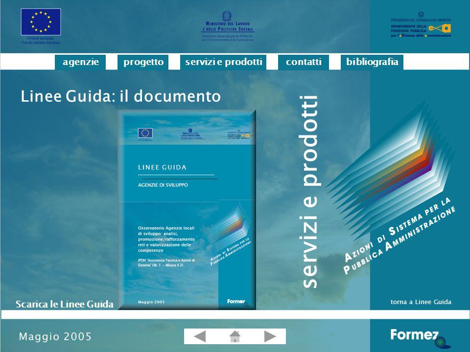 progettoservizi e prodotticontattibibliografiaagenzie Linee Guida: il documento Scarica le Linee Guida torna a Linee Guida servizi e prodotti