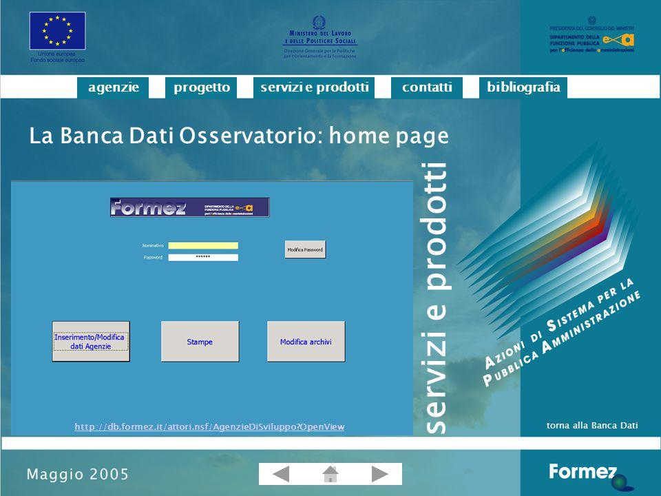 progettoservizi e prodotticontattibibliografiaagenzie La Banca Dati Osservatorio: home page http://db.formez.it/attori.nsf/AgenzieDiSviluppo OpenView torna alla Banca Dati servizi e prodotti