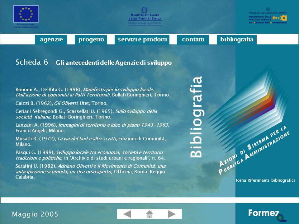 progettoservizi e prodotticontattibibliografiaagenzie Bonomi A., De Rita G.