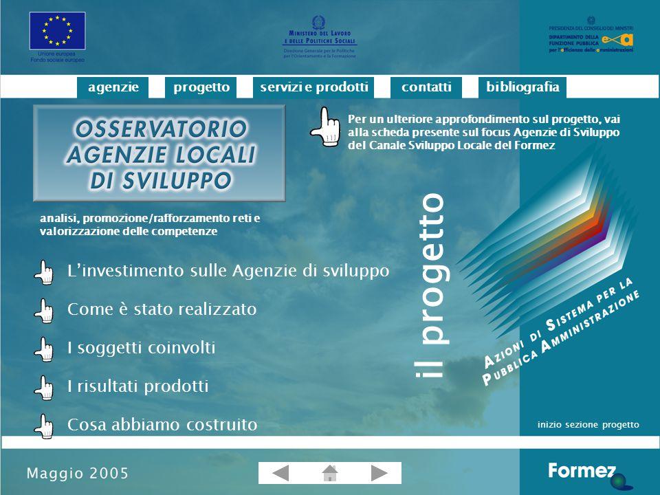 progettoservizi e prodotticontattibibliografiaagenzie L'investimento sulle Agenzie di sviluppo Il Progetto, finanziato nell'ambito della Misura II.2 del PON Assistenza Tecnica ed Azioni di Sistema Ob.1, cofinanziato dal Fondo Sociale Europeo, è stato promosso con l'obiettivo di assicurare attività di accompagnamento e di supporto alle PA regionali e locali per il rafforzamento del ruolo competitivo e innovativo delle Agenzie di sviluppo, la qualificazione dei servizi offerti alla PA e la loro capacità di networking.