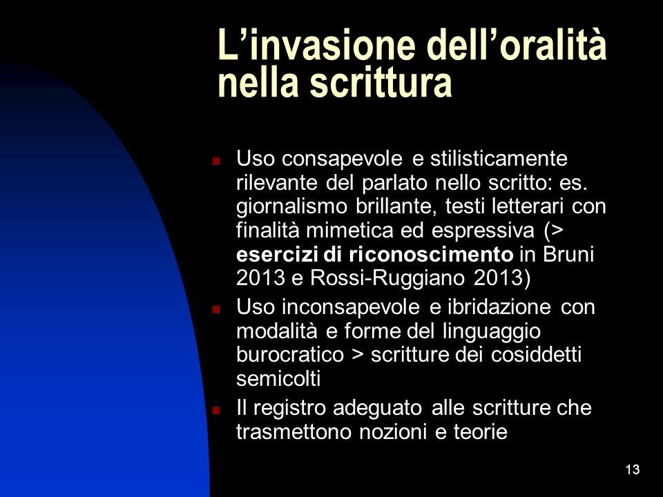 13 L'invasione dell'oralità nella scrittura Uso consapevole e stilisticamente rilevante del parlato nello scritto: es. giornalismo brillante, testi le