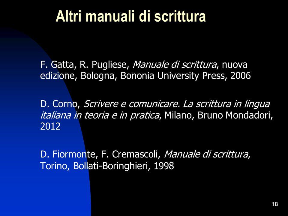 18 Altri manuali di scrittura F. Gatta, R. Pugliese, Manuale di scrittura, nuova edizione, Bologna, Bononia University Press, 2006 D. Corno, Scrivere
