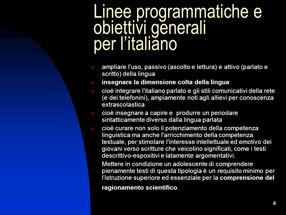 4 Linee programmatiche e obiettivi generali per l'italiano ampliare l'uso, passivo (ascolto e lettura) e attivo (parlato e scritto) della lingua inseg