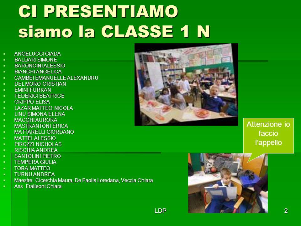 LDP2 CI PRESENTIAMO siamo la CLASSE 1 N  ANGELUCCI GIADA  BALDARI SIMONE  BARONCINI ALESSIO  BIANCHI ANGELICA  CAMBEI EMANUELLE ALEXANDRU  DEL M