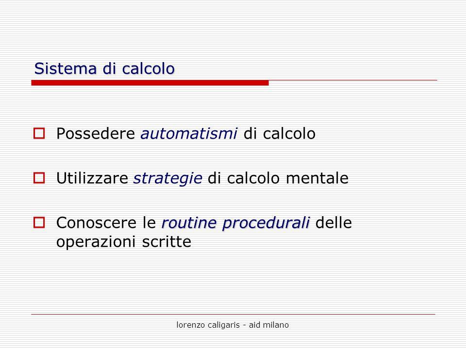lorenzo caligaris - aid milano Sistema di calcolo  Possedere automatismi di calcolo  Utilizzare strategie di calcolo mentale routine procedurali  C