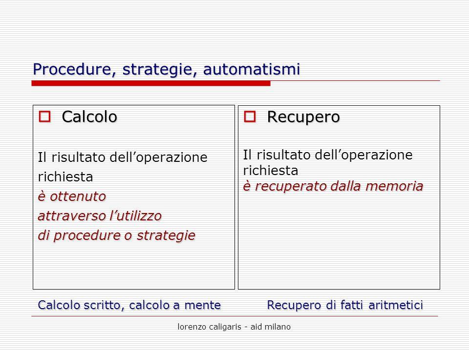lorenzo caligaris - aid milano Procedure, strategie, automatismi  Calcolo Il risultato dell'operazione richiesta è ottenuto attraverso l'utilizzo di