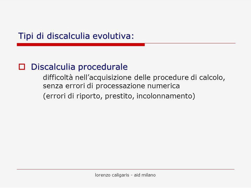 lorenzo caligaris - aid milano Tipi di discalculia evolutiva:  Discalculia procedurale difficoltà nell'acquisizione delle procedure di calcolo, senza