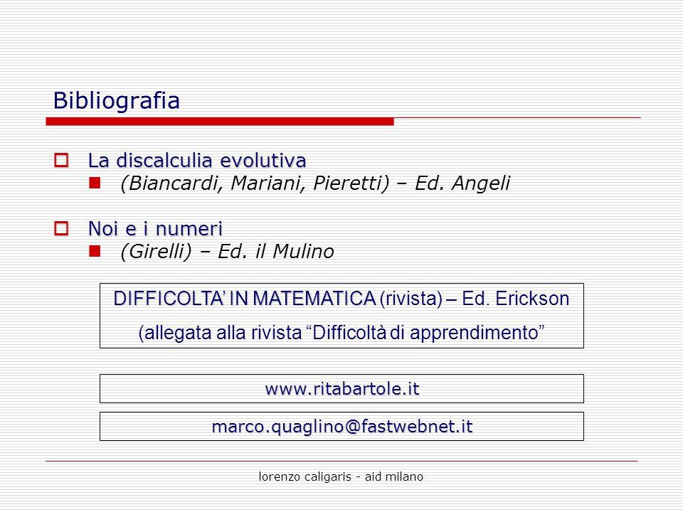 lorenzo caligaris - aid milano Bibliografia  La discalculia evolutiva (Biancardi, Mariani, Pieretti) – Ed. Angeli  Noi e i numeri (Girelli) – Ed. il