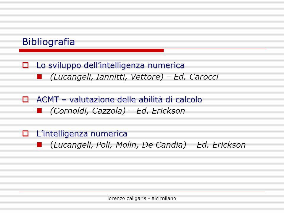 lorenzo caligaris - aid milano Bibliografia  Lo sviluppo dell'intelligenza numerica (Lucangeli, Iannitti, Vettore) – Ed. Carocci  ACMT – valutazione