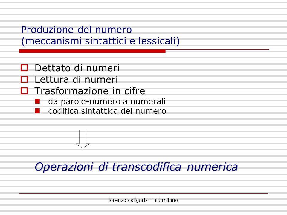 lorenzo caligaris - aid milano  Dettato di numeri  Lettura di numeri  Trasformazione in cifre da parole-numero a numerali codifica sintattica del n