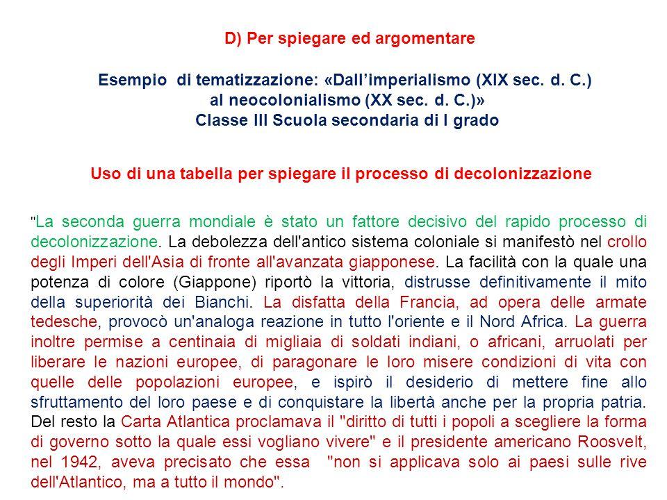 D) Per spiegare ed argomentare Esempio di tematizzazione: «Dall'imperialismo (XIX sec.