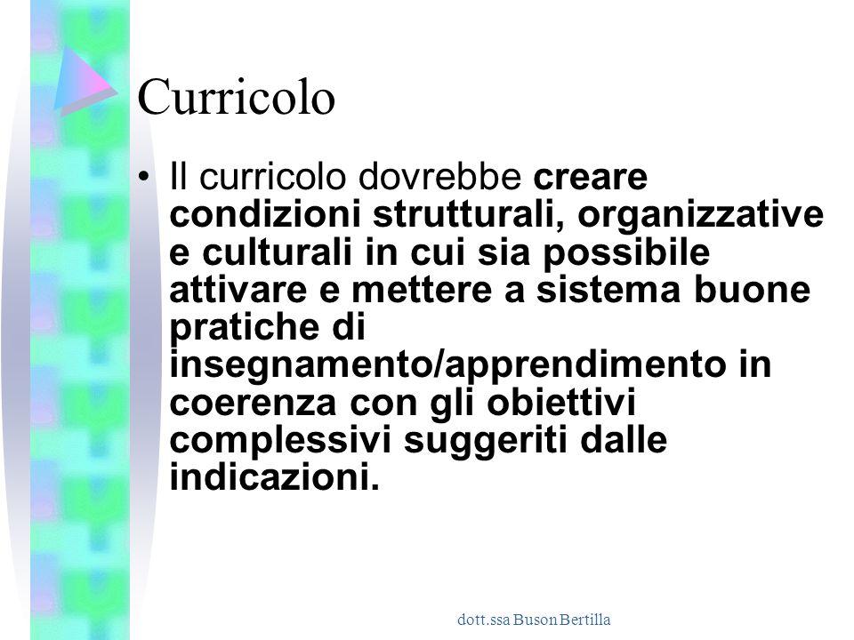 dott.ssa Buson Bertilla Curricolo Il curricolo dovrebbe creare condizioni strutturali, organizzative e culturali in cui sia possibile attivare e mette