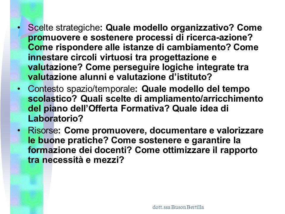 dott.ssa Buson Bertilla Scelte strategiche: Quale modello organizzativo? Come promuovere e sostenere processi di ricerca-azione? Come rispondere alle