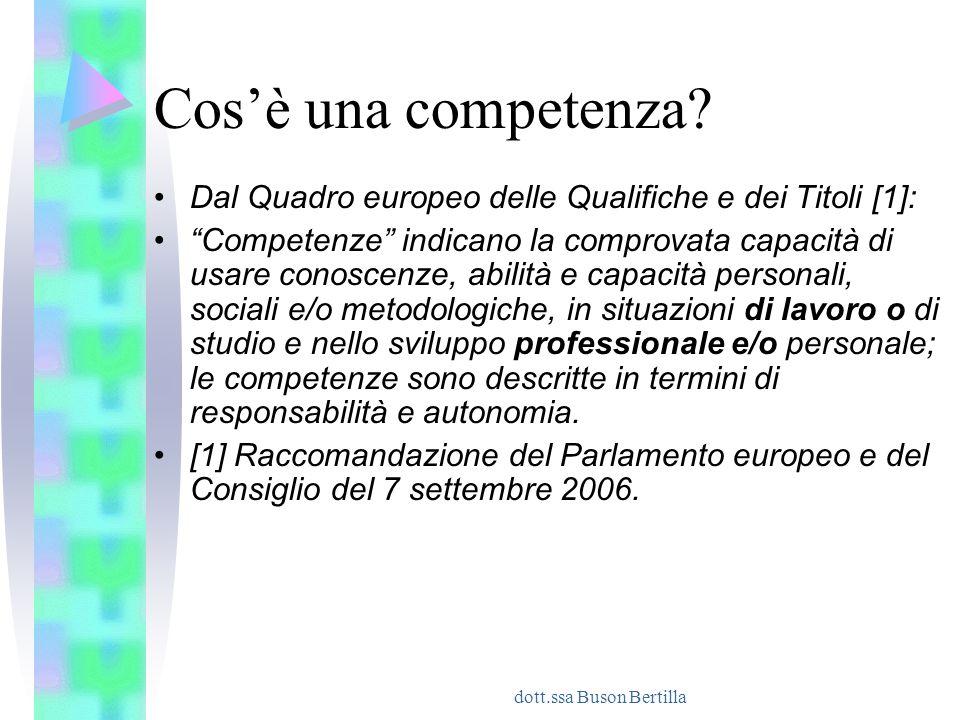 """dott.ssa Buson Bertilla Cos'è una competenza? Dal Quadro europeo delle Qualifiche e dei Titoli [1]: """"Competenze"""" indicano la comprovata capacità di us"""