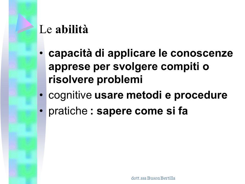 dott.ssa Buson Bertilla Le abilità capacità di applicare le conoscenze apprese per svolgere compiti o risolvere problemi cognitive usare metodi e proc