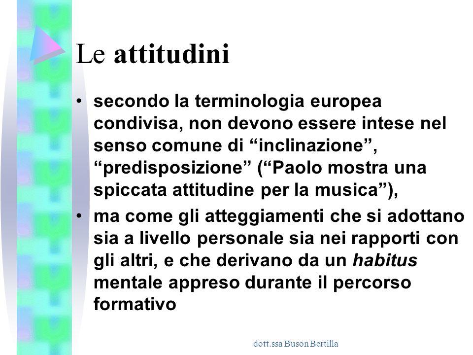 """dott.ssa Buson Bertilla Le attitudini secondo la terminologia europea condivisa, non devono essere intese nel senso comune di """"inclinazione"""", """"predisp"""