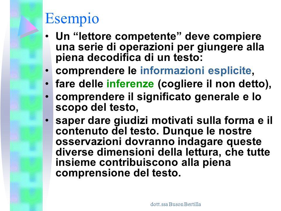 """dott.ssa Buson Bertilla Esempio Un """"lettore competente"""" deve compiere una serie di operazioni per giungere alla piena decodifica di un testo: comprend"""