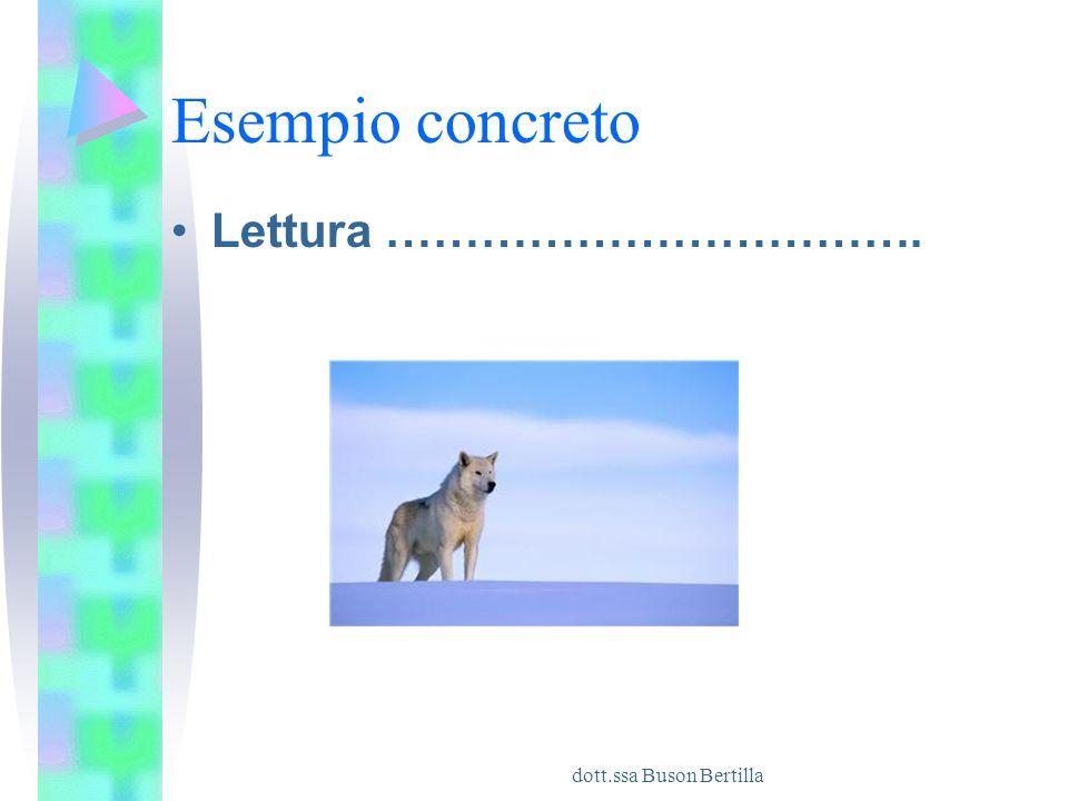 dott.ssa Buson Bertilla Esempio concreto Lettura …………………………….