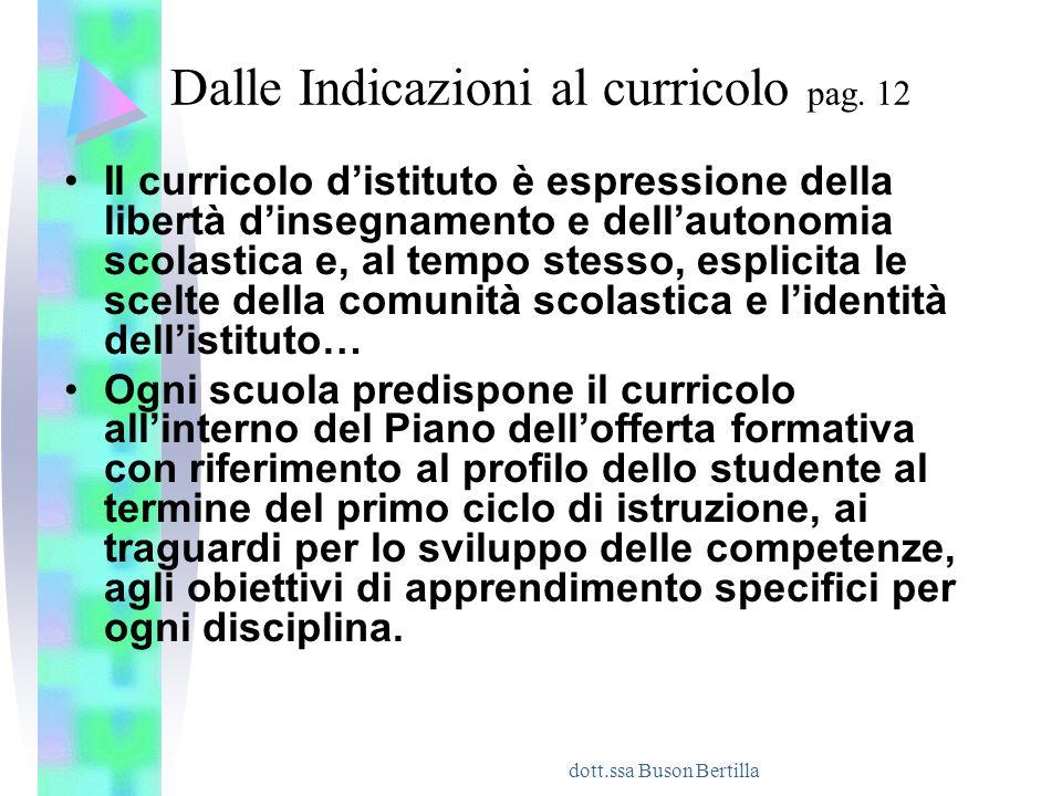 dott.ssa Buson Bertilla Dalle Indicazioni al curricolo pag. 12 Il curricolo d'istituto è espressione della libertà d'insegnamento e dell'autonomia sco