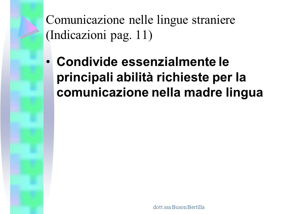 dott.ssa Buson Bertilla Comunicazione nelle lingue straniere (Indicazioni pag. 11) Condivide essenzialmente le principali abilità richieste per la com
