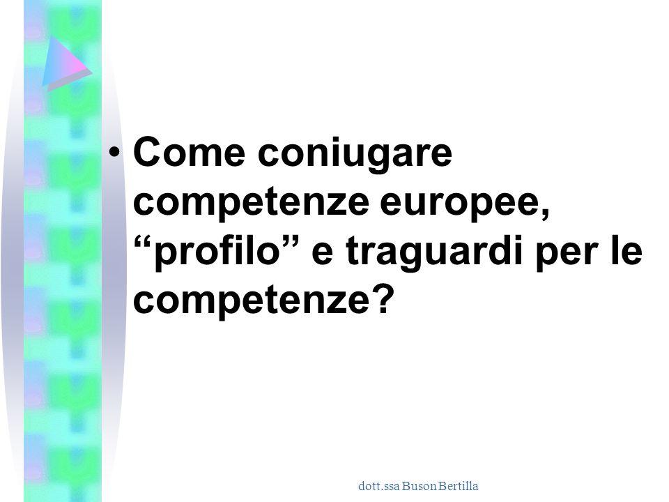 """dott.ssa Buson Bertilla Come coniugare competenze europee, """"profilo"""" e traguardi per le competenze?"""