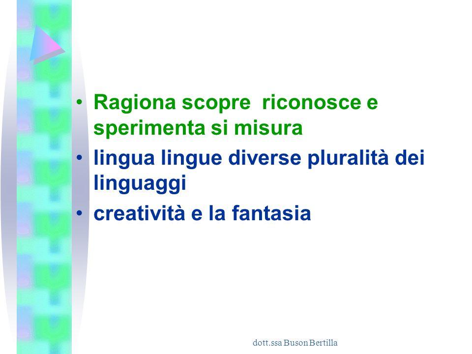 dott.ssa Buson Bertilla Ragiona scopre riconosce e sperimenta si misura lingua lingue diverse pluralità dei linguaggi creatività e la fantasia