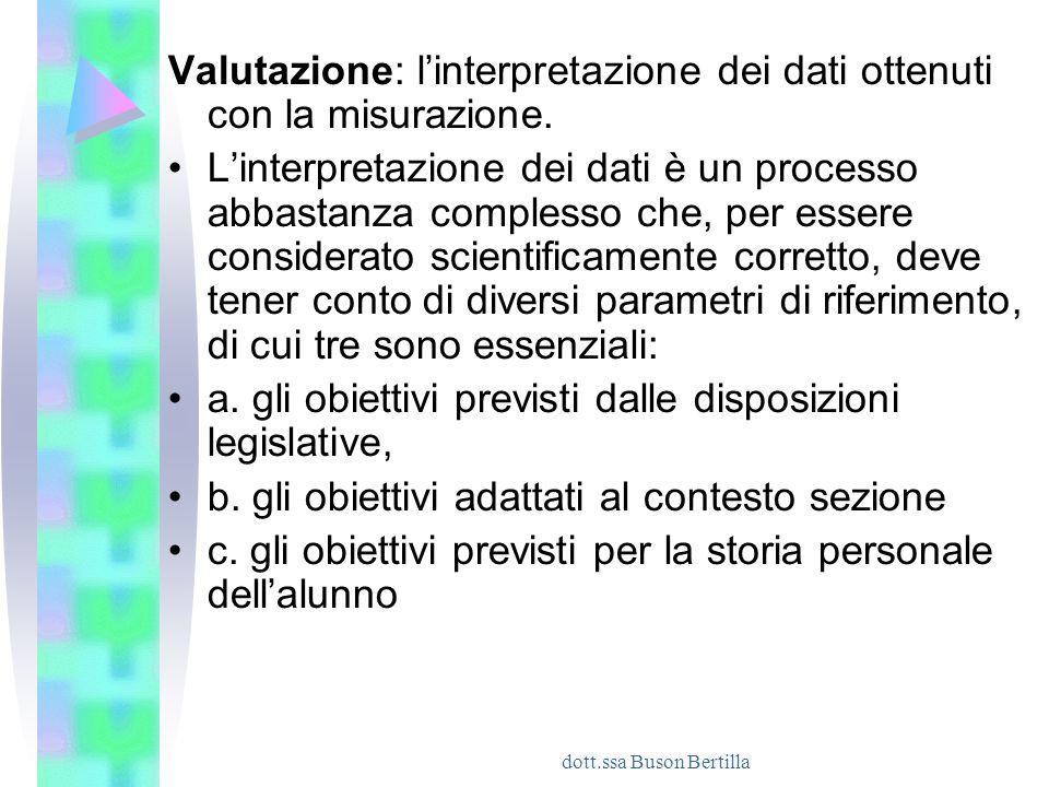 dott.ssa Buson Bertilla Valutazione: l'interpretazione dei dati ottenuti con la misurazione. L'interpretazione dei dati è un processo abbastanza compl