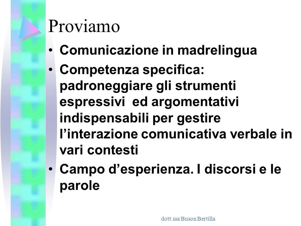 dott.ssa Buson Bertilla Proviamo Comunicazione in madrelingua Competenza specifica: padroneggiare gli strumenti espressivi ed argomentativi indispensa