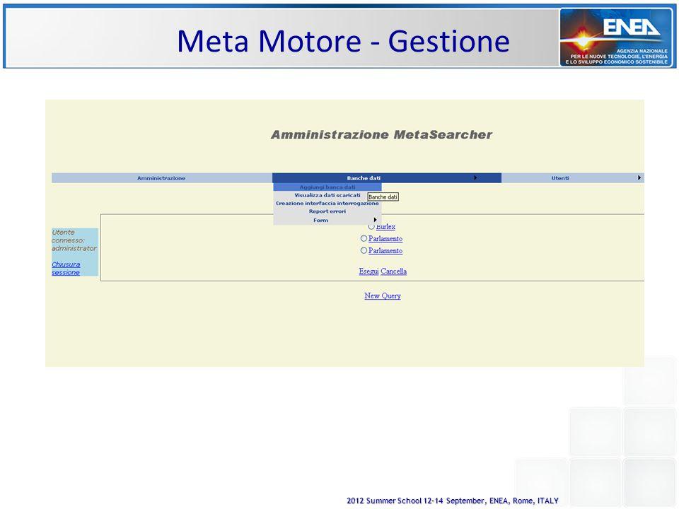 2012 Summer School 12-14 September, ENEA, Rome, ITALY Meta Motore - Gestione