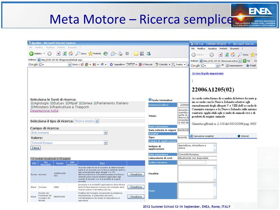 2012 Summer School 12-14 September, ENEA, Rome, ITALY Meta Motore – Ricerca semplice