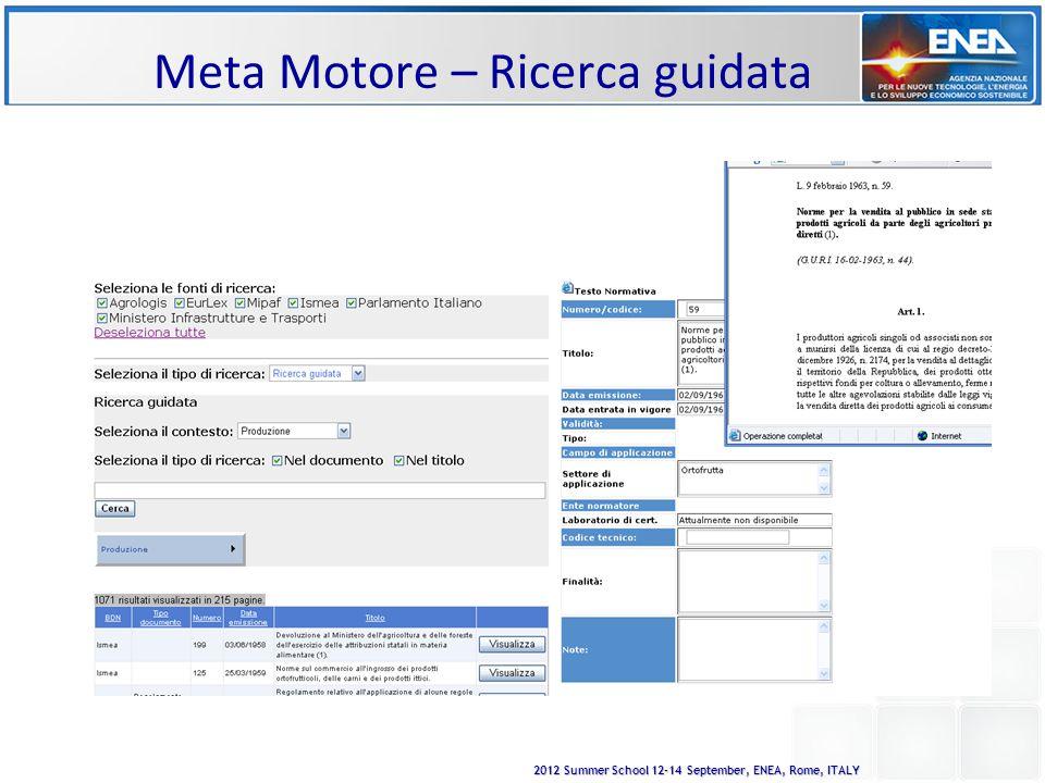 2012 Summer School 12-14 September, ENEA, Rome, ITALY Meta Motore – Ricerca guidata