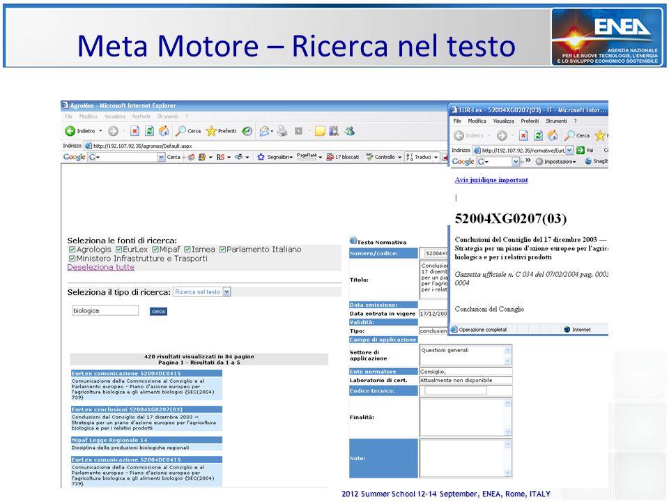 2012 Summer School 12-14 September, ENEA, Rome, ITALY Meta Motore – Ricerca nel testo