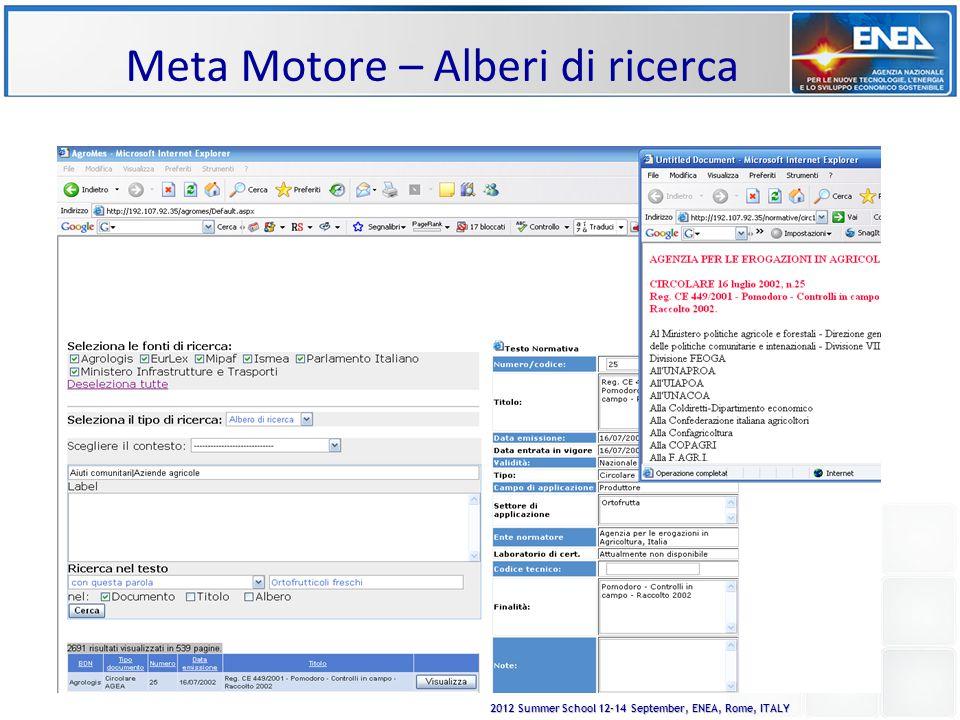 2012 Summer School 12-14 September, ENEA, Rome, ITALY Meta Motore – Alberi di ricerca