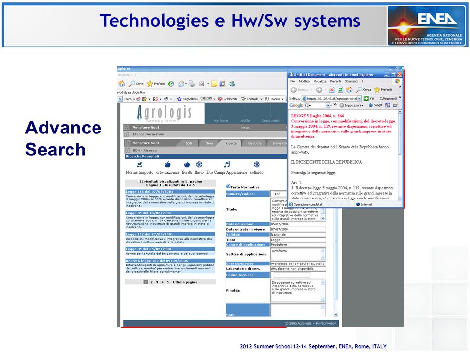 2012 Summer School 12-14 September, ENEA, Rome, ITALY Advance Search Technologies e Hw/Sw systems