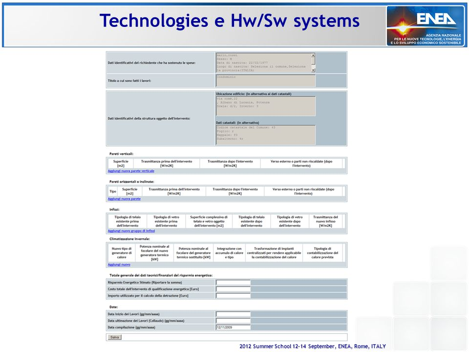 2012 Summer School 12-14 September, ENEA, Rome, ITALY Technologies e Hw/Sw systems