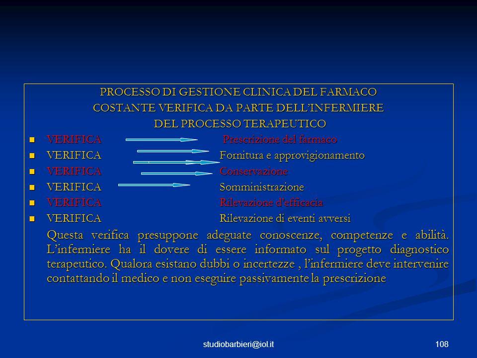 108studiobarbieri@iol.it PROCESSO DI GESTIONE CLINICA DEL FARMACO COSTANTE VERIFICA DA PARTE DELL'INFERMIERE DEL PROCESSO TERAPEUTICO DEL PROCESSO TERAPEUTICO VERIFICA Prescrizione del farmaco VERIFICA Prescrizione del farmaco VERIFICA Fornitura e approvigionamento VERIFICA Fornitura e approvigionamento VERIFICAConservazione VERIFICAConservazione VERIFICASomministrazione VERIFICASomministrazione VERIFICARilevazione d'efficacia VERIFICARilevazione d'efficacia VERIFICARilevazione di eventi avversi VERIFICARilevazione di eventi avversi Questa verifica presuppone adeguate conoscenze, competenze e abilità.