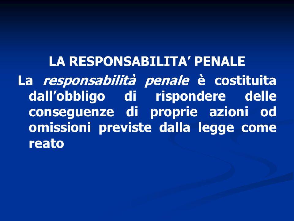 LA RESPONSABILITA' PENALE La responsabilità penale è costituita dall'obbligo di rispondere delle conseguenze di proprie azioni od omissioni previste dalla legge come reato