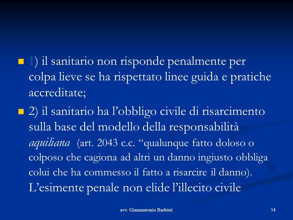 1) il sanitario non risponde penalmente per colpa lieve se ha rispettato linee guida e pratiche accreditate; 2) il sanitario ha l'obbligo civile di risarcimento sulla base del modello della responsabilità aquiliana (art.