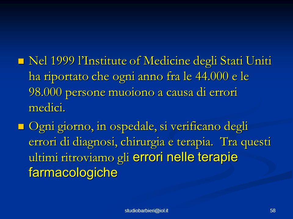 Nel 1999 l'Institute of Medicine degli Stati Uniti ha riportato che ogni anno fra le 44.000 e le 98.000 persone muoiono a causa di errori medici.