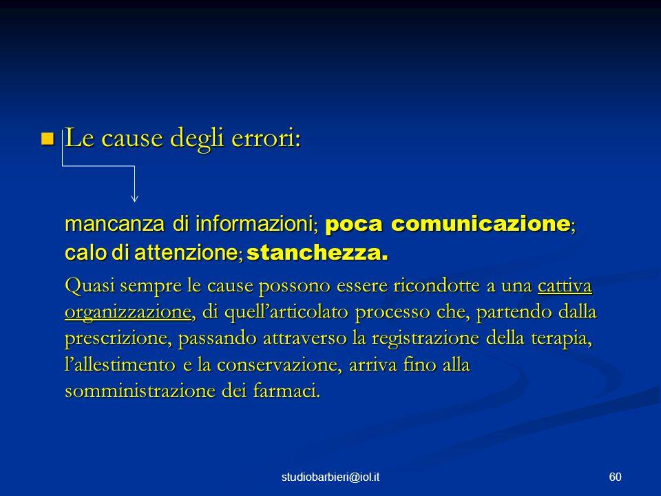 Le cause degli errori: Le cause degli errori: mancanza di informazioni ; poca comunicazione ; calo di attenzione ; stanchezza.