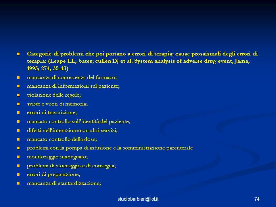 Categorie di problemi che poi portano a errori di terapia: cause prossismali degli errori di terapia: (Leape LL, bates; cullen Dj et al.