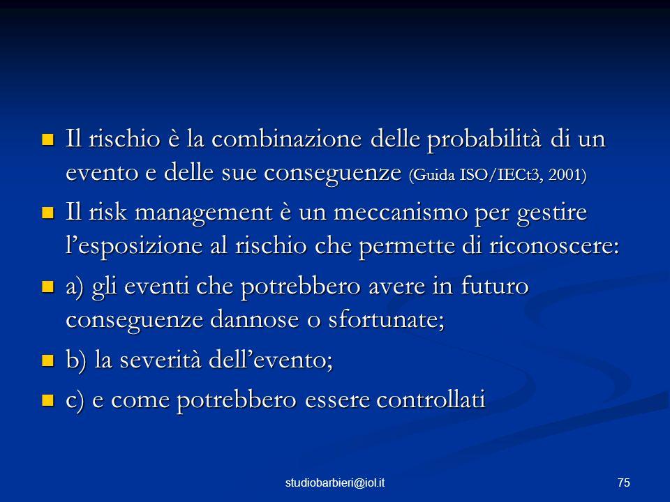 Il rischio è la combinazione delle probabilità di un evento e delle sue conseguenze (Guida ISO/IECt3, 2001) Il rischio è la combinazione delle probabilità di un evento e delle sue conseguenze (Guida ISO/IECt3, 2001) Il risk management è un meccanismo per gestire l'esposizione al rischio che permette di riconoscere: Il risk management è un meccanismo per gestire l'esposizione al rischio che permette di riconoscere: a) gli eventi che potrebbero avere in futuro conseguenze dannose o sfortunate; a) gli eventi che potrebbero avere in futuro conseguenze dannose o sfortunate; b) la severità dell'evento; b) la severità dell'evento; c) e come potrebbero essere controllati c) e come potrebbero essere controllati 75studiobarbieri@iol.it