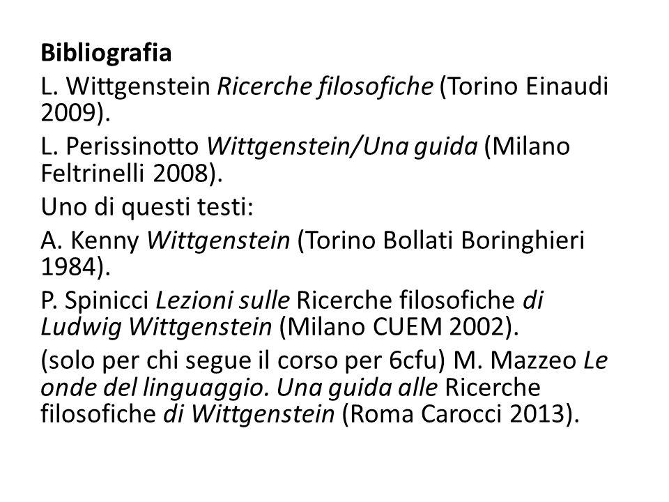 Bibliografia L. Wittgenstein Ricerche filosofiche (Torino Einaudi 2009). L. Perissinotto Wittgenstein/Una guida (Milano Feltrinelli 2008). Uno di ques
