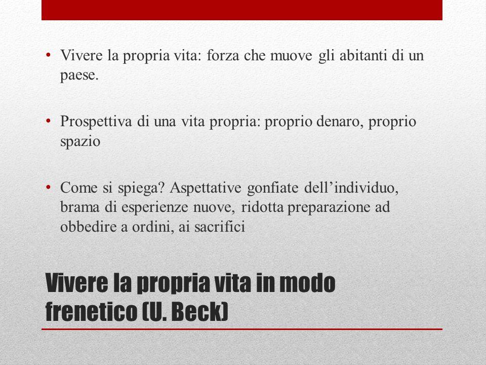 Vivere la propria vita in modo frenetico (U. Beck) Vivere la propria vita: forza che muove gli abitanti di un paese. Prospettiva di una vita propria: